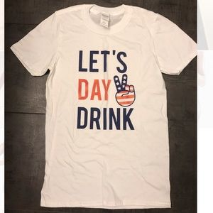 """NEW WHITE T-SHIRT """"LET'S DAY DRINK""""  XS"""